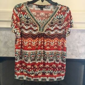 NWT cute print top with beading accents SZ PL